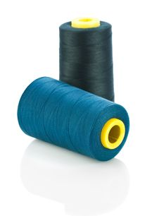 Free Blue And Black Threads On Spools Royalty Free Stock Photography - 17355477