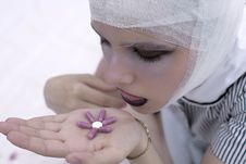 Free A Beautiful Girl With Bandage On  Head Holds Pills Stock Images - 17355574