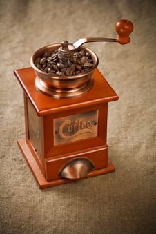 Free Coffee Mill On Sacking Stock Photos - 17356033
