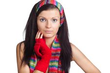 Free Beautiful Girl With Red Mitten And Neckerchief Stock Image - 17356241