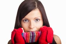 Free Beautiful Girl With Red Mitten And Neckerchief Royalty Free Stock Photography - 17356287