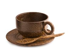 Free Empty Brown Wooden Cup Of Teak Tree Stock Photography - 17356292
