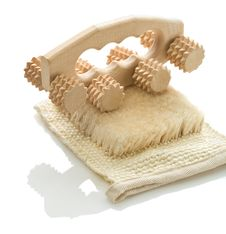 Free Bast With Wooden Massager Royalty Free Stock Photo - 17356815