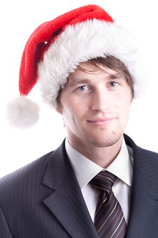 Free Business Man With Santa Hat Royalty Free Stock Photos - 17356858