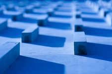 Blue Wall With Small Bricks Stock Photos