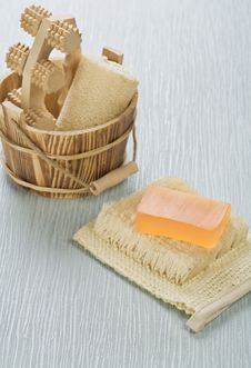 Free Bucket And Soap On Bast Royalty Free Stock Images - 17356979
