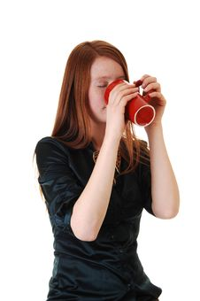 Free Girl Drinking Coffee. Stock Photos - 17357013