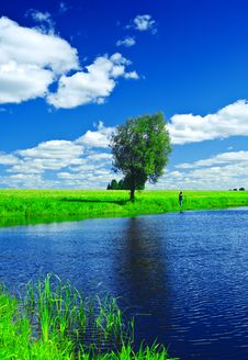 Free Lake On The Summer Field Royalty Free Stock Image - 17357356