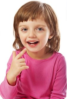 Little Girl Four Years Old Showing Someting Royalty Free Stock Photography