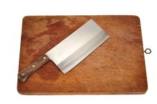 Free Cleaver On A Chopping Board Royalty Free Stock Images - 17357599