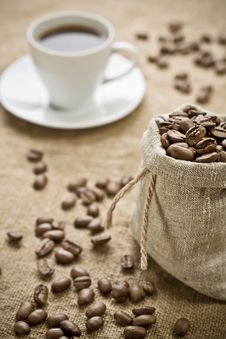 Free Coffee Beans And Cup Of Coffee Stock Photos - 17358183