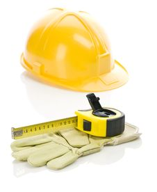 Free Helmet With Tapeline And Glove Stock Photo - 17358300