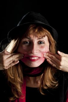 Free Girl With Hat And Lipstick Deformed Her Face Stock Photo - 17358310
