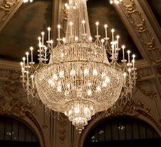 Vintage Crystal Lamp Inside Theater Stock Images