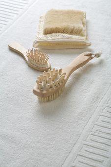 Hairbrush Massager And Bast Stock Image