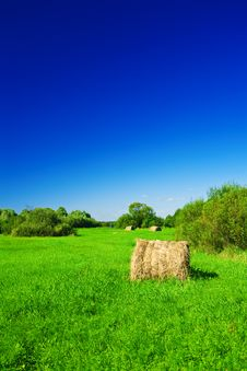 Haystack On A Green Field Royalty Free Stock Images
