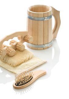 Bast Massager Hairbrush And Mug Royalty Free Stock Photos