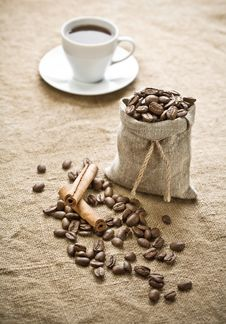 Free Cinnamon And Coffee On Sacking Stock Photos - 17359343