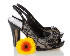 Female Shoes And Flower, Isolated. Royalty Free Stock Photo