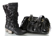 Female Boots And Bag. Stock Photos