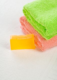 Free Soap With Towels Royalty Free Stock Images - 17359739