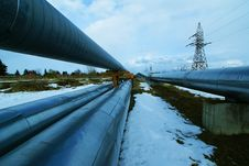 Free Industrial Steel Pipelines Smokestack Blue Sky Stock Photography - 17359862