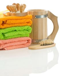 Free Towels With Wooden Objects Stock Photo - 17359990