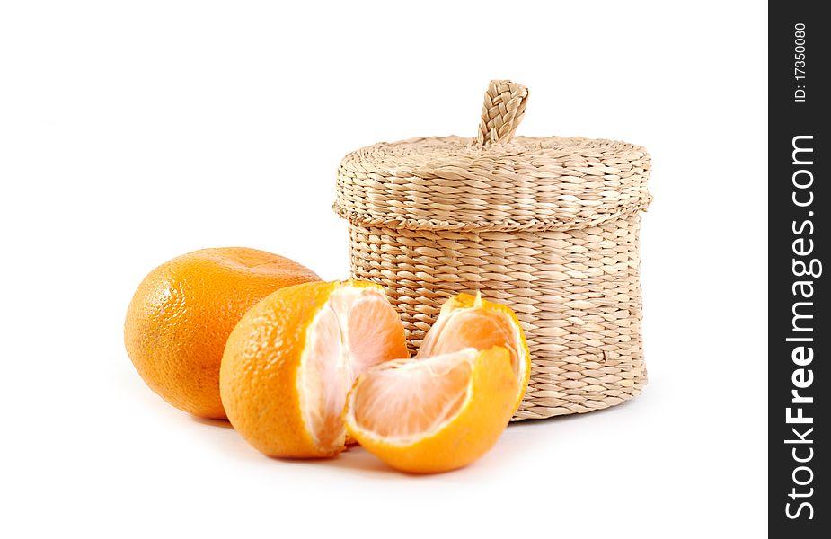 Wicker boxe and mandarin