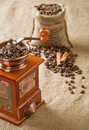 Free Coffee In Bag Cinnamon And Coffee Mill Stock Photography - 17361762