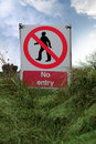 Free No Entry Sign On Grass With Clouds Stock Images - 17362684