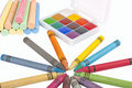 Free Colored Wax Pencils, Chalk And A Watercolor Stock Photos - 17366483