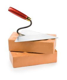 Trowel On Bricks Stock Photo