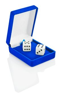 Free Two Playing Dice In Blue Box Isolated Stock Photo - 17360050