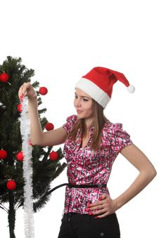 Free Woman Decorate A Christmas Tree Stock Images - 17360124