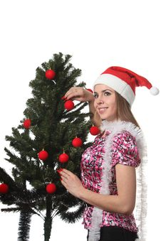 Free Woman Decorate A Christmas Tree Royalty Free Stock Photo - 17360125
