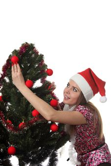 Free Woman Decorate A Christmas Tree Royalty Free Stock Images - 17360129