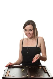 Woman Play Backgammon Stock Photo