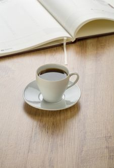 Free Diary With Cup Of Coffee Stock Photography - 17360432