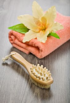 Free Flower On Pink Towel With Massager And Brush Stock Photo - 17360450