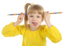 Free Little Girl With Colour Pencils Royalty Free Stock Photos - 17360638