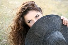 Free Young  Lady Hiding  Behind The Bonnet Stock Photo - 17361170