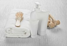 Free White Set With Hairbrush And Massager Royalty Free Stock Image - 17361556