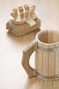 Free Bath Sponge Massager And Wooden Mug Stock Image - 17361601