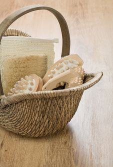 Free One Basket On Wooden Background Stock Images - 17362154