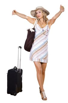 Free Woman On Vacation With Beach Bag Royalty Free Stock Image - 17363976