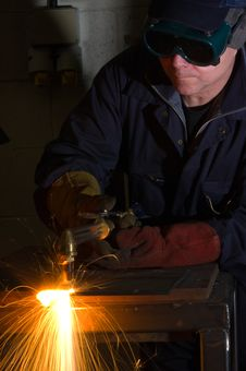 Free Close Up Of Welder With Orange Sparks Stock Photo - 17364150