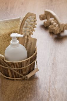 Wooden Bucket And Massager Stock Image