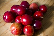 Organic Red Cherries Stock Photos