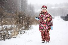 Free Small Girl In Strong Snow Fall Stock Image - 17365171