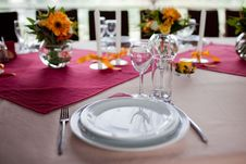 Free Wedding Flowers - Tables Set For Wedding Stock Photography - 17365282